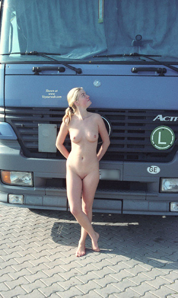 Pic #6 Walk in a Parking Lot - Blonde, Public Exhibitionist, Public Place