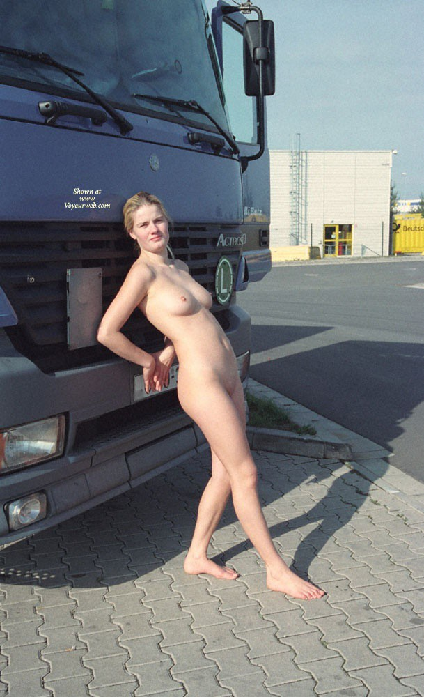 Pic #7 Walk in a Parking Lot - Blonde, Public Exhibitionist, Public Place