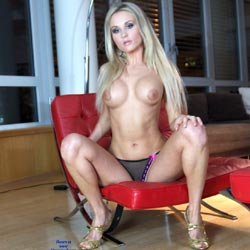 Topless Bloden In Red Chair - Big Tits, Blonde Hair, Chair, Heels, Long Hair, Perfect Tits, Showing Tits, Topless, Sexy Body, Sexy Boobs, Sexy Figure, Sexy Legs