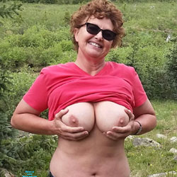 Playing With My Boobs Outdoors - Big Tits