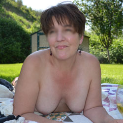 Lounging And Fucking In The Back Yard - Big Tits, Brunette, Outdoors