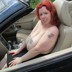 Wife Topless In A Topless Car - Big Tits, Redhead, Tattoos, Wife/Wives