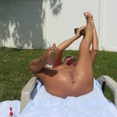 Masturbating in The Backyard - Blonde, Masturbation, Shaved, Toys