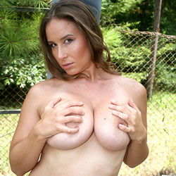 Outdoor Boob Play - Big Tits, Brunette, Shaved