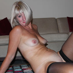 Seducing Blonde On The Floor Wearing Stockings - Big Tits, Blonde Hair, Firm Tits, Indoors, Shaved Pussy, Stockings, Strip, Sexy Girl, Sexy Legs, Sexy Lingerie