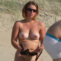 Changing Clothes On The Beach - Big Tits, Beach Voyeur