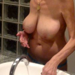 Extremely large tits of my wife - Amber