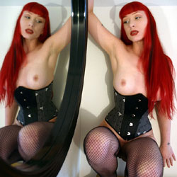 Rubber And Brocade Lace Corset - Big Tits, Lingerie, Redhead