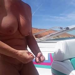 Dancing On The Boat - Big Tits, Brunette, Outdoors