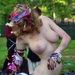 Naked Costumed At The Park - Big Tits, Blonde Hair, Exposed In Public, Nude In Public, Nude Outdoors, Showing Tits, Sexy Figure, Sexy Girl, Costume
