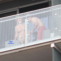 Sex On The Balcony - Big Tits, Voyeur , Right Time, Right Place As A Couple Decides To Have Sex On Their Balcony.