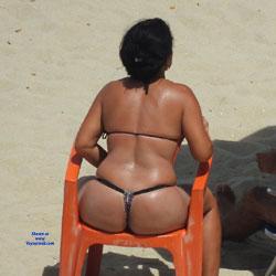 Couple In Janga Beach - Beach Voyeur, Bikini Voyeur, Brunette