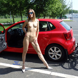 On The Way For A Cycling Tour - Exposed In Public, Heels, Nude In Public, Perfect Tits, Shaved