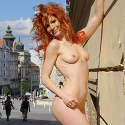 Vienna - Nude In Lovely Brno - Big Tits, Exposed In Public, Flashing, Heels, Nude In Public, Redhead, Shaved