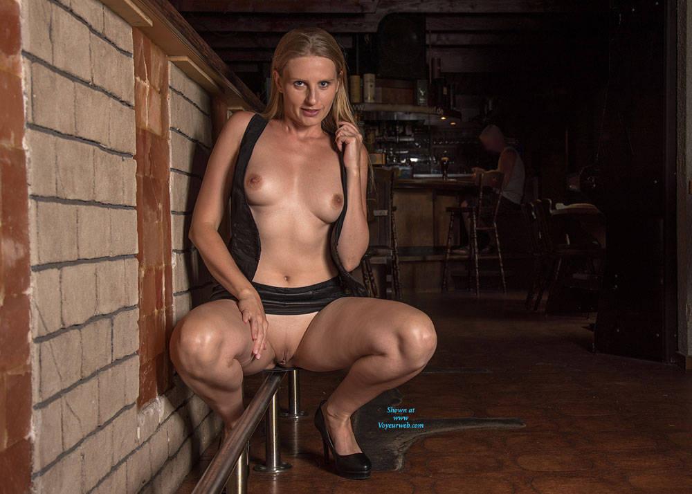 Pic #3 Bri In The Pub - Public Place, Public Exhibitionist, High Heels Amateurs, Flashing, Big Tits, Shaved