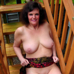 On The Deck Stairs - Big Tits, Brunette, Shaved