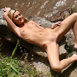 Naked Blonde At River Rocks - Big Tits, Blonde Hair, Nipples, Nude In Public, Nude Outdoors, Pale Skin, Pussy Lips, Shaved Pussy, Small Tits, Spread Legs, Naked Girl, Sexy Body, Sexy Girl, Sexy Legs