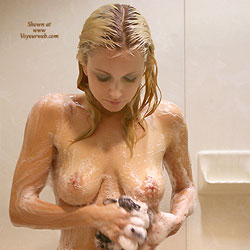 Wet And Naked Blonde Girl - Big Tits, Blonde Hair, Full Nude, Nipples, Perfect Tits, Shaved Pussy, Wet, Sexy Girl, Sexy Legs