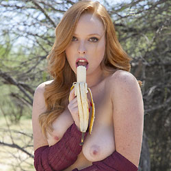 Naughty Nude Redhead Eating Banana Outdoor - Big Tits, Exposed In Public, Nipples, Nude Outdoors, Redhead, Shaved Pussy, Sexy Girl, Sexy Legs