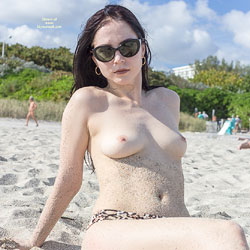 Kat At The Beach - Big Tits, Brunette Hair, Beach Voyeur