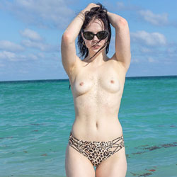 Kat NUde On Beach Wearing Sunglasses - Brunette Hair, Nipples, Nude Beach, Nude In Nature, Small Tits, Sunglasses, Beach Voyeur, Sexy Body, Sexy Legs, Sexy Panties