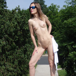 On The Highway - Exposed In Public, Flashing, Heels, Nude In Public, Perfect Tits, Shaved