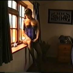Yvonne Strips Off Her Basque - Big Tits, Brunette, Hard Nipples, High Heels Amateurs, Lingerie, Bush Or Hairy