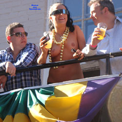 Naked During Mardi Gras - Big Tits, Exposed In Public, Flashing, Huge Tits, Nude In Public, Showing Tits, Sexy Body, Sexy Girl