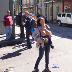 Flashing Tits In Public Street - Big Tits, Exposed In Public, Flashing Tits, Flashing, Nude In Public, Dressed