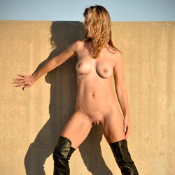 Naked Blonde Wearing High Boots Outside - Big Tits, Blonde Hair, Boots, Exposed In Public, Firm Tits, Full Nude, Heels, Naked Outdoors, Nipples, Nude In Public, Perfect Tits, Pussy Lips, Shaved Pussy, Sexy Legs