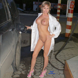 Seducing Blonde In Pink Heels - Big Tits, Blonde Hair, Erect Nipples, Exposed In Public, Flashing, Full Nude, Heels, Long Legs, Nipples, Nude In Public, Shaved Pussy, Short Hair, Tattoo, Sexy Legs