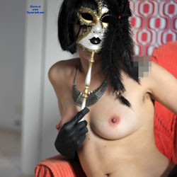 Masked Girl Showing Hairy Pussy - Artistic Nude, Big Tits, Erect Nipples, Hairy Bush, Hairy Pussy, Hard Nipple, Nipples, Spread Legs, Stockings, Sexy Girl, Sexy Legs, Costume