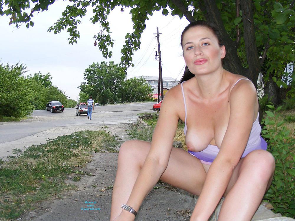Pic #2 A Walk - Big Tits, Brunette, Flashing, Public Exhibitionist, Public Place