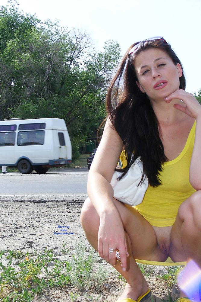 Pic #6 A Walk - Big Tits, Brunette, Flashing, Public Exhibitionist, Public Place