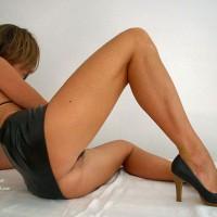 Sexy Girl In Black Micro Mini And High Heels - Heels, Spread Legs