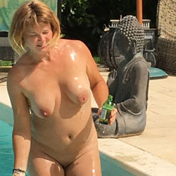 Sunbathing By The Pool - Big Tits, Wife/Wives