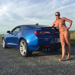 Naked Blonde With Beside A Mustang - Big Tits, Blonde Hair, Full Nude, Naked Outdoors, Nude Outdoors, Shaved Pussy, Sexy Body, Sexy Legs