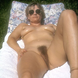 Yvonne Naked In The Garden - Hard Nipples, Big Tits, Bush Or Hairy