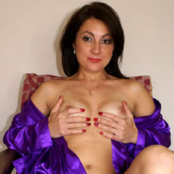 Anna (38) - Relaxing In Purple Gown - Brunette Hair