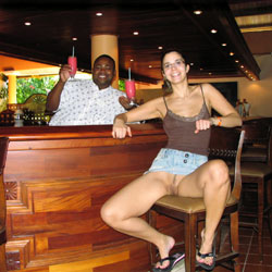 Showing Pussy At The Bar - Exposed In Public, Flashing, Nude In Public, Trimmed Pussy, Sexy Girl, Sexy Legs