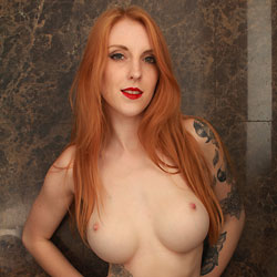 Redhead Alexa Showing Big Tits And Tattoos - Artistic Nude, Big Tits, Hairy Bush, Indoors, Redhead, Showing Tits, Tattoo, Topless, Sexy Body, Sexy Legs, Sexy Panties