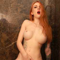 Alexa Naugthy In The Shower - Big Tits, Hairy Bush, Masturbation, Redhead, Toys