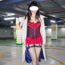 Parking Garage - High Heels Amateurs, Lingerie, Public Exhibitionist, Public Place