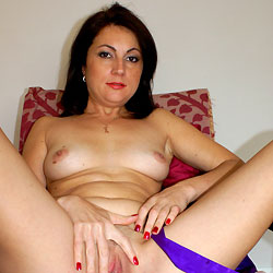 Anna (38) Relaxing In Purple Gown - Big Tits, Brunette Hair, Close Up, Amateur