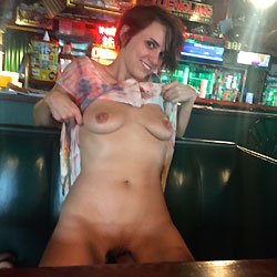 Kate Nude At The Bar - Brunette Hair, Exposed In Public, Firm Tits, Flashing, Nude In Public, Shaved Pussy, Short Hair, Sexy Legs