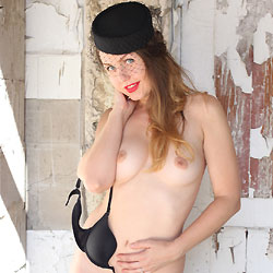 Nude Redhead Nicole Outside  - Big Tits, Erect Nipples, Nipples, Nude Outdoors, Perfect Tits, Redhead, Shaved Pussy, Stockings, Sexy Legs, Sexy Lingerie