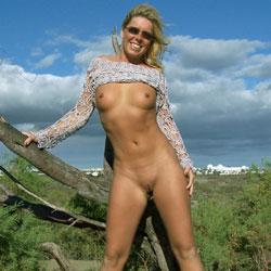 Sexy Beach Posing  - Beach, Blonde, Shaved