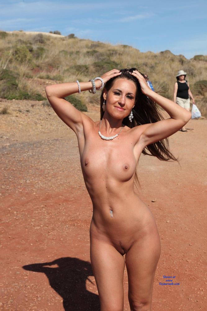 Pic #4 A Naked Day's Exploring - Brunette, Public Exhibitionist, Public Place