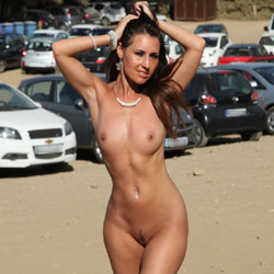 Naked Brunette In Public - Big Tits, Brunette Hair, Exposed In Public, Nipples, Nude In Public, Trimmed Pussy, Naked Girl, Sexy Body, Sexy Legs , Naked, Brunette, Nude In Public, Trimmed Pussy, Tits