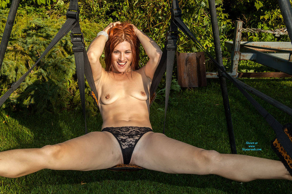 Ember On The Swing - Redhead, Shaved , Sexy, Redhead, Sex Toys, Oiled Up, Sexy Body